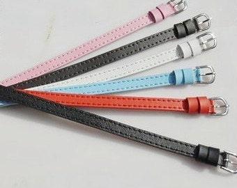 Wholesale 20pcs Adjustable Genuine Leather Wristbands,Leather Slide Bracelet Straps,Genuine Leather Buckle Straps,Fit 8mm Slide Charm