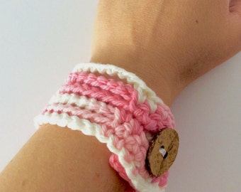 Pink and White Crochet Bracelet with Button Closure