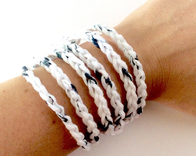 Black and White Crochet Bracelet with Button Closure