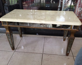 Antique marble topped mirror bench