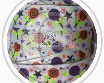 "Halloween candy on white grosgrain ribbon - 5 yards - 7/8"""