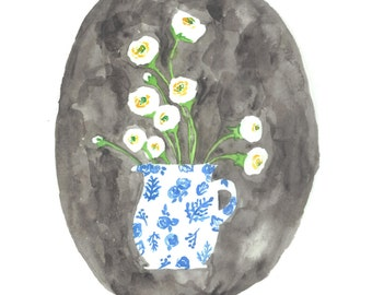 """the """"SCOUT"""" -white ranunculus floral bouquet in a china vase watercolor print"""