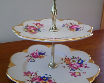 "Royal Winton ""Flowergole"" pattern china two tier cake stand, cupcake stand, floral plate"