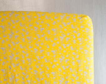 Standard Fitted Crib Sheet or Toddler Bed Sheet - Bright Yellow and Gray Cherry Blossom Print