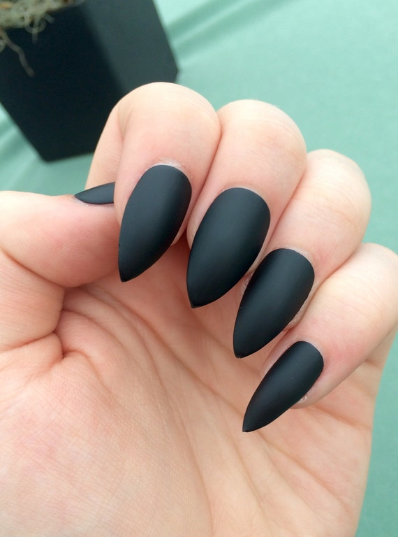 matte black nails stiletto nails coffin nails fake nails from nailsbykate on etsy studio. Black Bedroom Furniture Sets. Home Design Ideas