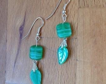 CLEARANCE SALE: Green and white swirl earrings