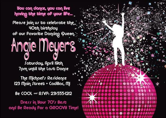 women u0026 39 s birthday party invitation disco dancing queen 70