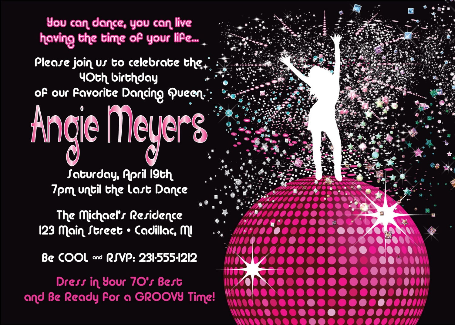 Women's Birthday Party Invitation Disco Dancing Queen 70