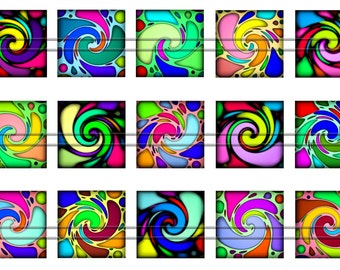 Rainbow colorful twirls - Digital images - 1'' inch squares for Jewelry Making, Digital Collage Sheets, Instant Download, BUY 2 GET 1 FREE