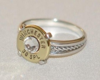 Winchester 38 Special  Pistol  Bullet  Ring Rope Design  Sterling Silver 925   Swarovski Crystal Custom Made in the USA Bullet Jewelry