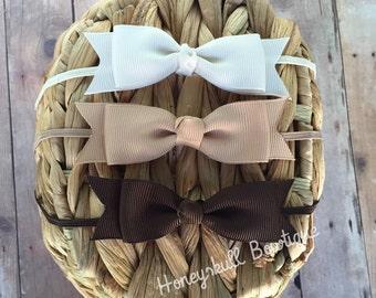 Bow Headband Set- Brown, Cream & Tan- Fits Baby to Girl