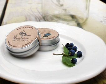 Organic Blueberry lip balm tin // maine wedding favor - organic berry lip balm tin - rustic wedding favor - maine made - made in maine - ME