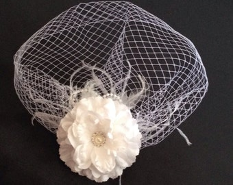 Ivory White BIRDCAGE VEIL with Flower, Vintage Style Bridal FASCINATOR