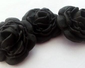 Set of 12 black Full Bloom Roses - edible sugar flower cake topper decorations 3cm