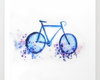 Blue Bicycle Watercolor Wall Art, High Quality Print, Home Decor