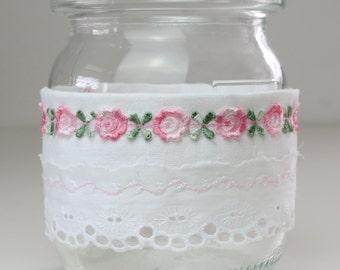 Wind light for interior and exterior, german jar with vintage cotton, shabby stil