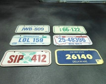 Mini license plates - vintage promotional cereal give away - craft altered art - State collectible license plates - bike license - man cave