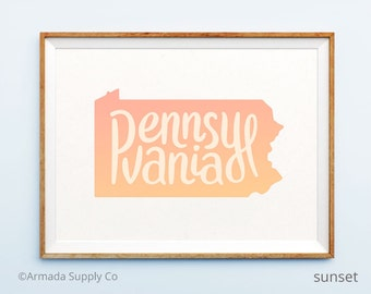 Pennsylvania print - Pennsylvania art - Pennsylvania poster - Pennsylvania wall art
