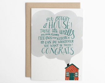 New House Card - You Bought A House! Funny Moving Card - Moving Card - Congratulations Card - House Warming Card - House Warming Gift/C-183
