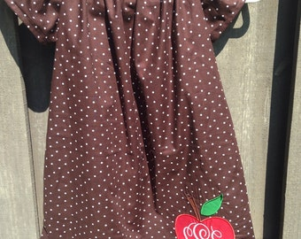 Brown and White Polka Apple Dress