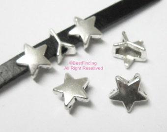 10pcs 5x2mm Star sliders Flat leather pentagram slider 5mm leather findings
