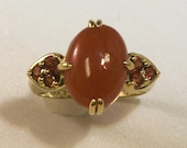 Womans Genuine Carnelian and garnet Ring - 14k Yellow Gold Ring (i-3652) FREE SHIPPING