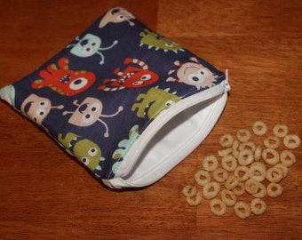 Blue monster reusable snack/sandwich bag