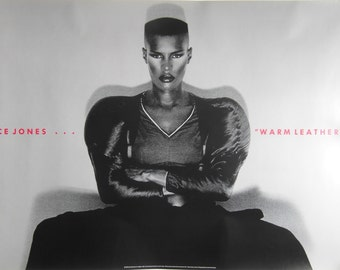 Original 1980 Grace Jones Promotional Poster for the Album 'Warm Leatherette'