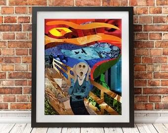 The Scream wall art, The Scream print, Mixed Media Collage Art, Bohemian Decor Edvard Munch Giclee art print, apartment decor