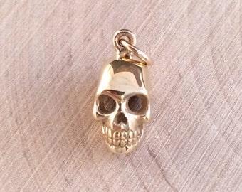 Skull Charm, Skull Pendant, Bronze Skull Charm, Bronze Skull Pendant, Bronze Charm, Bronze Pendant, Bones, Skeletons