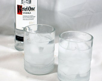 Set of 2 Ketel One Vodka Glasses - Handcrafted from Recycled 1L Liquor Bottles