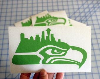 Seahawks Skyline decal.. Seahawks Seattle Skyline decal.. Seahawks decal.. Seahawks sticker.. Seahawks Skyline sticker.. Skyline Seahawks..