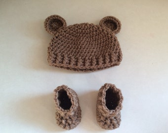 Newborn teddy bear hat and booties