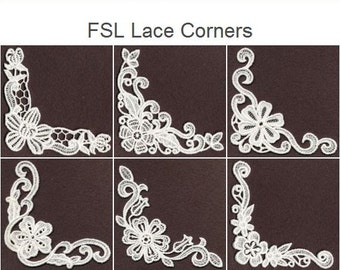 FSL Lace Corners - Free Standing Lace Machine Embroidery Designs Instant Download 4x4 hoop 10 designs SHE1647