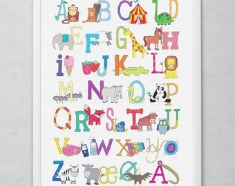 ABC poster · Danish Alphabet · Original drawings