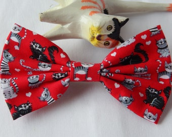 Red with Cats hair bow HANDMADE hair accessory