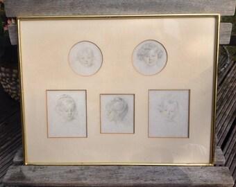 5 well framed prints of children's heads