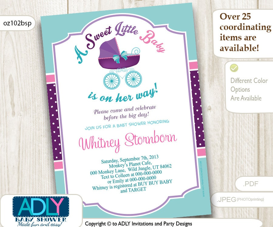Turquoise And Pink Wedding Invitations: Purple Pink Light Turquoise Baby Carriage Invitation Baby