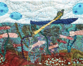 "Quilt Art wall. Mixed media wall hanging. fabric ccollage. Textile art Man in a Dory    9.5""x14"""