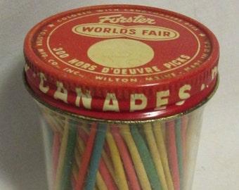 Toothpick Jar, Forster, With Original Wood Toothpicks, 1960's
