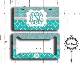 Aqua License Plate, Damask License Plate Frame, Turqoise Car Tags, Front license Plate, Bike Tag, Trellis License Plate, Front Car Tag, 2LT