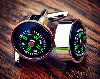 Working Compass Cufflinks Mens Present