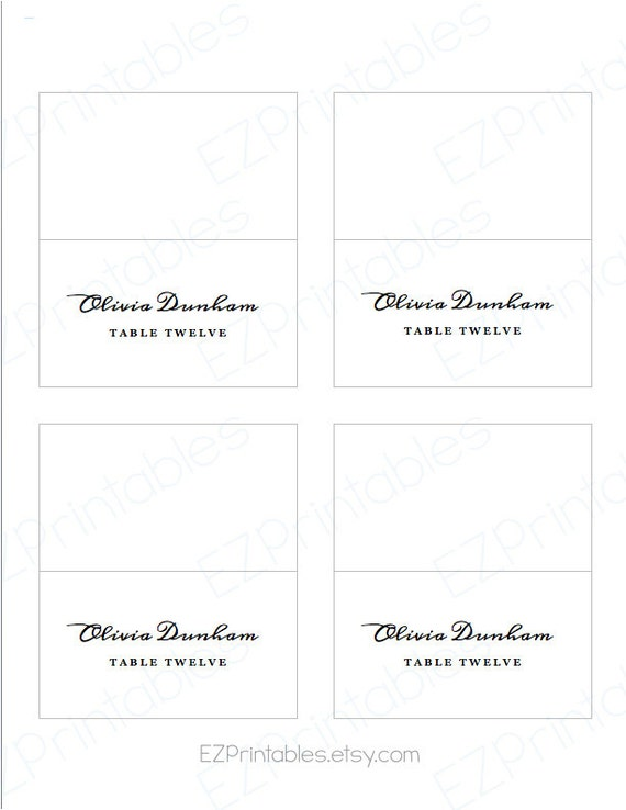 Printable place card avery 5302 template instant download for Avery printable place cards