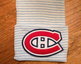 Newborn Hospital Hat. MONTREAL CANADIENS Hockey Hospital Beanie.  Baby Newborn Hats. Newborn Beanies.