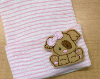 NEWBORN Hospital Hat. Newborn Hospital Beanie. Baby Girl Hat with Felt Puppy Applique w/ Bow! Your Choice of Hat Colors! You Pick! Cute!