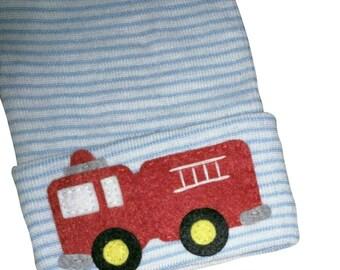 NEWBORN Hospital Hat. Newborn Hospital Beanie.  Baby Boy Hat with Firetruck Applique.  Great Gift.