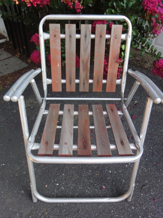 Redwood Patio Furniture Home Depot: Red Wood Folding Patio Chair/Vintage Redwood Chair/Outdoor