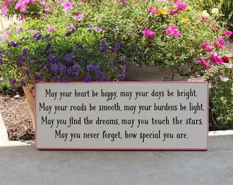 May Your Heart Be Happy Irish Blessing Baby Sign / Wooden Sign for New Baby Girl or Boy