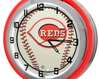 Cincinnati Reds Neon Clock