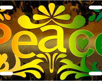 Rainbow Peace License Plate Tag